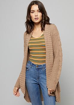 Khaki Chunky Cable Knit Sleeve Cardigan