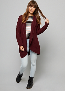 Burgundy Chunky Cable Knit Sleeve Cardigan