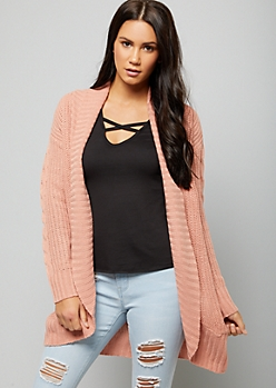 Pink Chunky Cable Knit Sleeve Cardigan