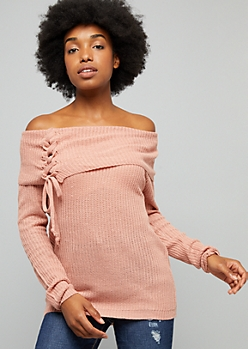 Pink Off The Shoulder Lace Up Sweater