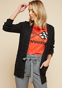 Charcoal Gray Open Front Longline Cardigan