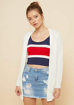 Ivory Open Front Longline Cardigan