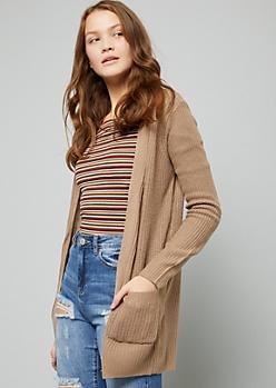Khaki Open Front Longline Cardigan