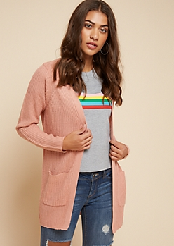 Pink Open Front Longline Cardigan