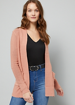 Medium Pink Open Front Shawl Cardigan
