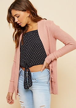 Pink Open Front Shawl Cardigan