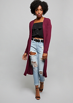 Burgundy Long Length Hacci Knit Pocket Duster