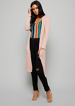 Pink Long Length Hacci Knit Pocket Duster