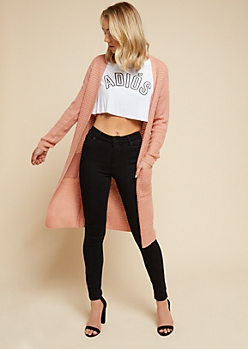 Pink Open Front Maxi Cardigan