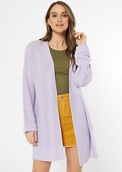 Lavender Waffle Knit Drop Sleeve Cardigan