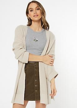 Tan Waffle Knit Drop Sleeve Cardigan