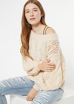 Cream Cable Knit Balloon Sleeve Sweater