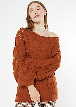 Burnt Orange Cable Knit Balloon Sleeve Sweater