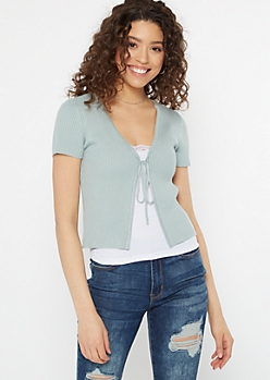 Teal Tie Front Ribbed Knit Top
