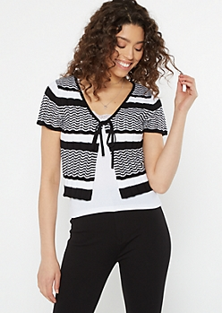 Black Striped Tie Front Pointelle Top