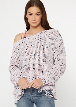 Lavender Confetti Destructed Slouchy Sweater