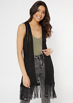 Black Pointelle Fringe Trim Vest