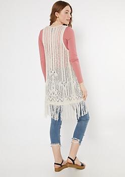 Ivory Pointelle Knit Fringe Trim Vest
