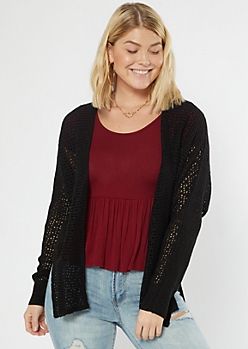 Black Open Knit Dolman Cardigan