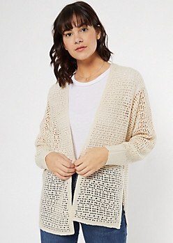 Tan Open Knit Dolman Cardigan