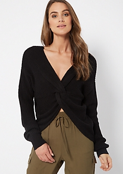 Black Knotted Reversible Sweater
