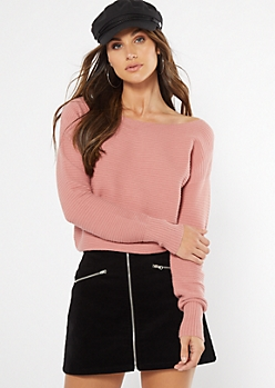 Pink Ribbed Knit Slouchy Sweater
