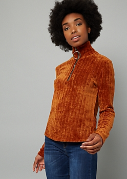 Burnt Orange Ribbed Chenille Half Zip Sweater