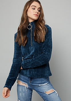 Navy Ribbed Chenille Half Zip Sweater