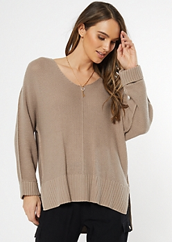 Taupe Open Knit Slouchy Sweater