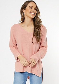 Medium Pink Open Knit Slouchy Sweater