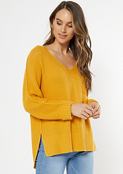 Mustard Open Knit Slouchy Sweater