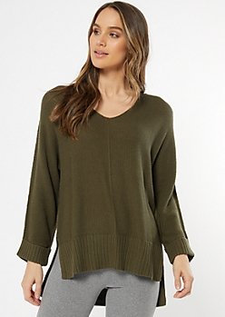 Olive Open Knit Slouchy Sweater