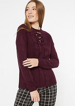 Plum Lace Up Crew Neck Sweater