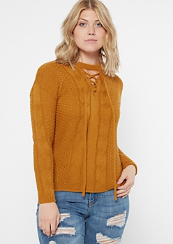 Mustard Lace Up Crew Neck Sweater