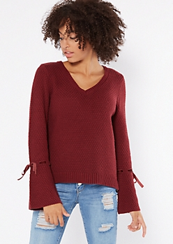 Burgundy Velvet Tied Trumpet Sleeve Sweater