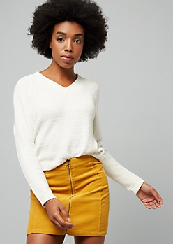 Ivory Metallic Cold Shoulder Chenille Sweater