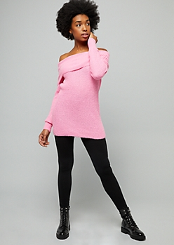 Pink Ribbed Knit Off The Shoulder Tunic Sweater