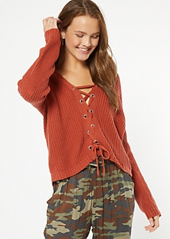 Burnt Orange Lace Up Front High Low Sweater