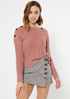 Pink Chenille Button Shoulder Sweater