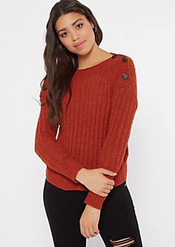 Burnt Orange Chenille Button Shoulder Sweater