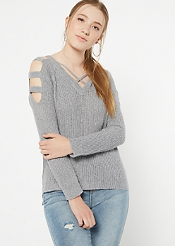 Gray Marled Waffle Knit Caged Sweater