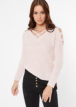 Pink Marled Waffle Knit Caged Sweater