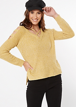 Mustard Marled Waffle Knit Caged Sweater