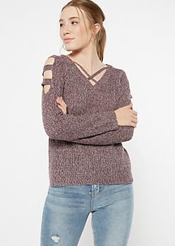 Plum Marled Waffle Knit Caged Sweater