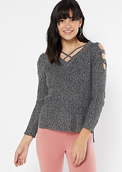 Black Marled Waffle Knit Caged Sweater