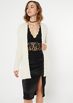 Ivory Eyelash Knit Open Cardigan