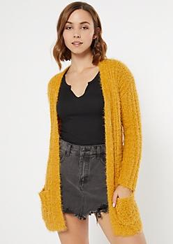 Mustard Eyelash Knit Open Cardigan