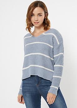 Blue Striped Chenille Lattice Sweater
