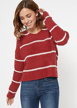 Red Striped Chenille Lattice Sweater
