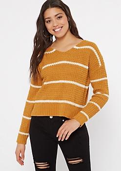 Mustard Striped Chenille Lattice Sweater